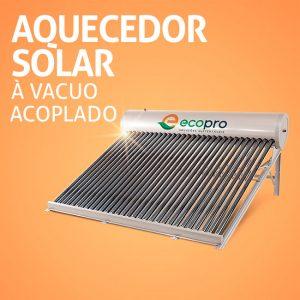 O aquecedor solar a vácuo acoplado atende grande volume de água quente.