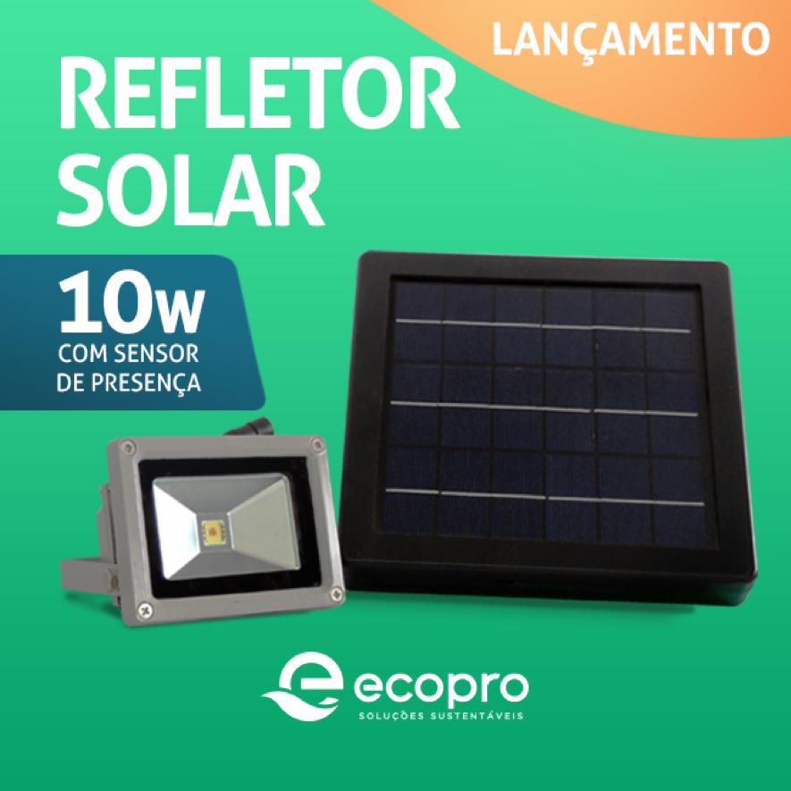 O refletor solar funciona como uma pequena placa fotovoltaica.